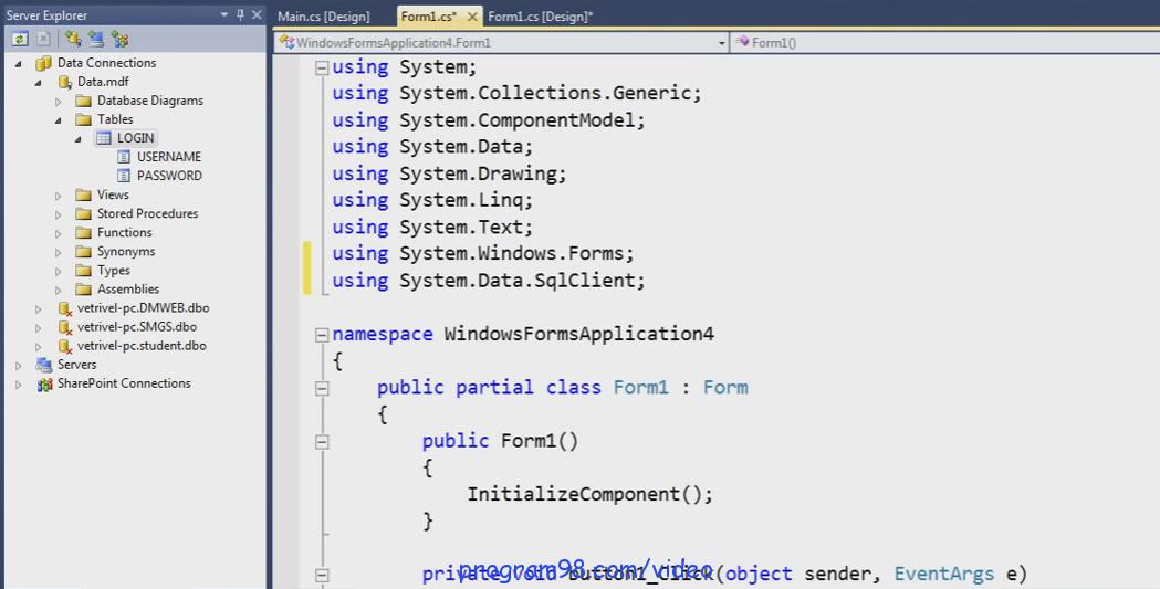 فیلم آموزش ساخت پروژه فرم login (ورود) با سی شارپ و sql server